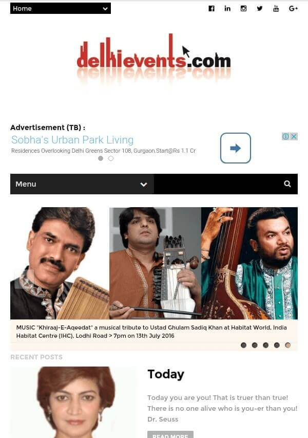 DelhiEvents.com Mobile Site Capture