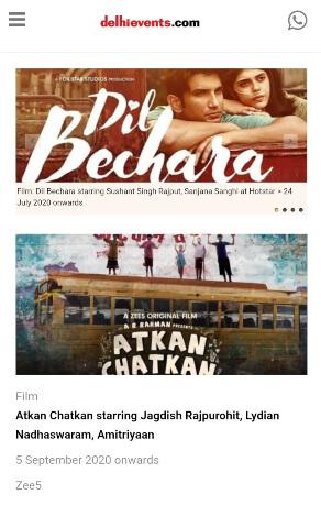 DelhiEvents Homepage Screenshot