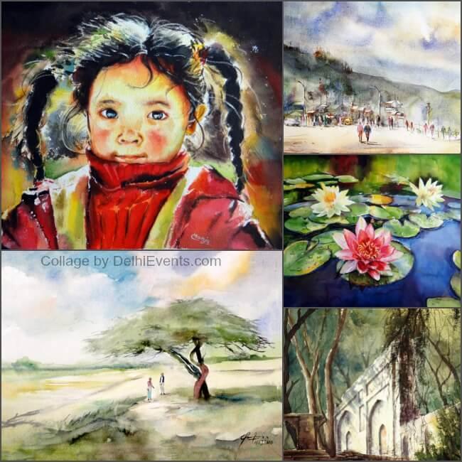 Enlightenment group show watercolors Qaseem Farooqi Manju Singh Irfan Khan Artworks