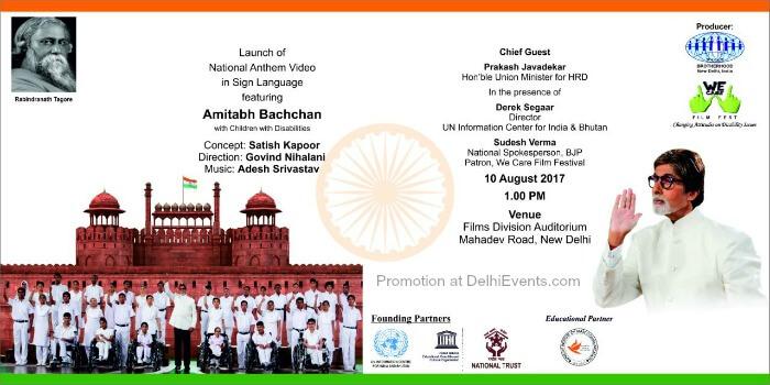 National Anthem Video Sign Language Amitabh Bachchan with Children Disabilities Films Division Auditorium Creative