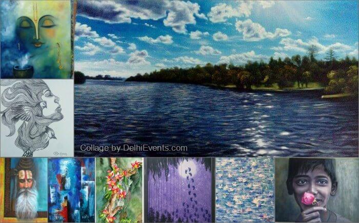 ASMI initiative NGO Creative Leaves international group art show Gandhi Art Gallery Artworks