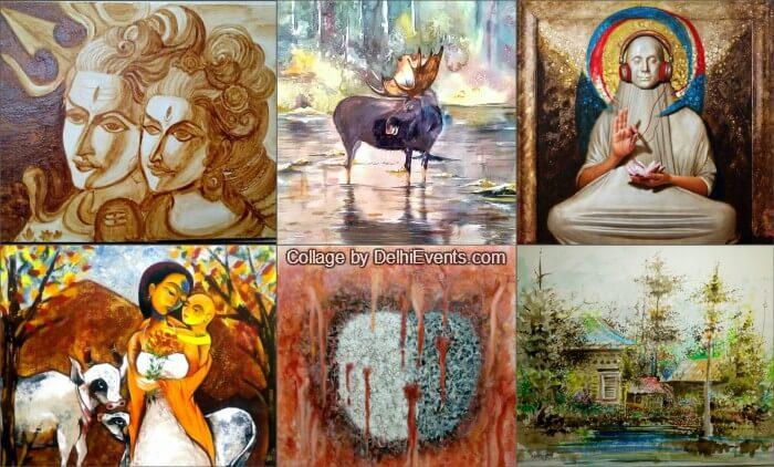 Kaash group show paintings  Al Yas Creationz Artworks