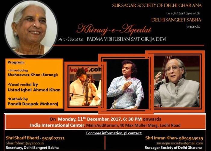 Khiraaj-e-Aqeedat tribute Padma Vibhushan Girija Devi IIC Creative