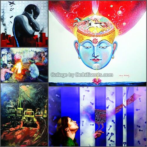 Shashth Rupa group art show six contemporary painters Artworks