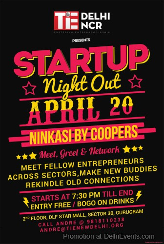 Startup Night Out TiE Delhi-NCR Ninkasi Coopers Brew Pub Creative