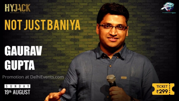 Not Just Baniya Hinglish stand-up comic act Gaurav Gupta Hyjack Restaurant Bar Creative