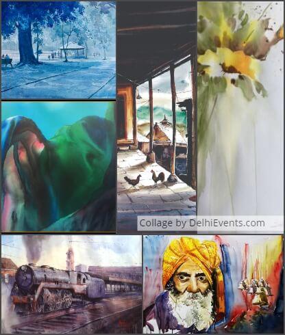 Sahitya Kala Parishad Fluid Landscapes Group Show Watercolor Paintings