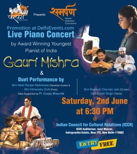 Solo Piano Concert Gauri Mishra Duet Shri Neel Ranjan Mukherjee Hawaiian Guitar Shri Himanshu Dutt Flute Azad Bhavan Creative