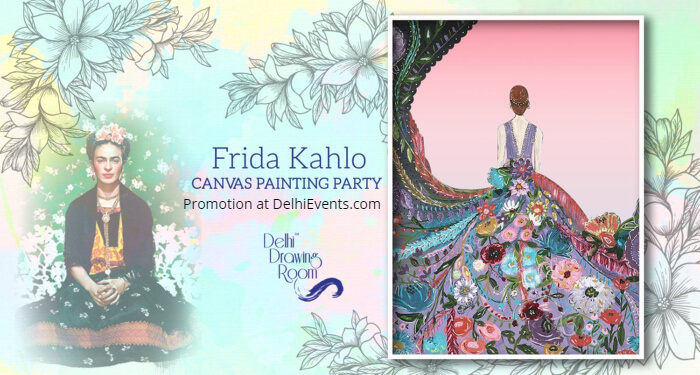 Frida Kahlo Canvas Painting Party Delhi Drawing Room Creative