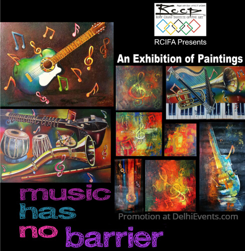 Music Barrier solo show paintings Neellu Khanna Exhibition Creative