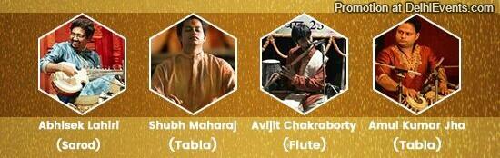 Abhisek Lahiri sarod Shubh Maharaj tabla Avijit Chakraborty Flute Amul Kumar Jha Tabla Musicians