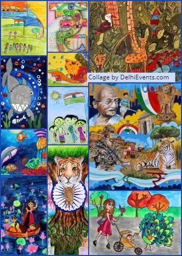 7th All India Children Art Contest Shanker Art Foundation India Habitat Centre Artworks Collage