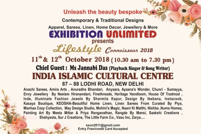 Exhibition Unlimited Lifestyle Connoisseur 2018 India Islamic Cultual Centre Creative