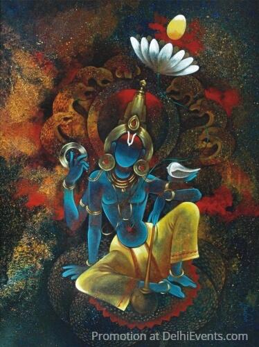 Vishnu Shesha Naag Painting Yograj Verma