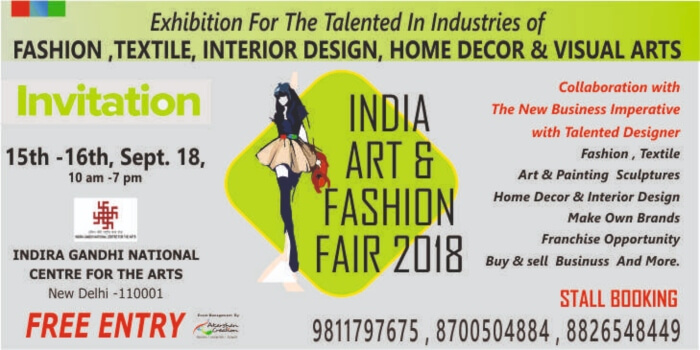 Lifestyle Exhibition India Art Fashion Fair 2018 10am 7pm On