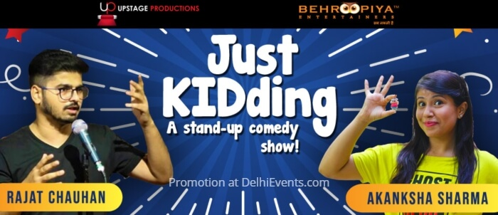 Just KIDding Hinglish Standup Comic act Rajat Chauhan Akanksha Sharma Alliance Francaise Creative