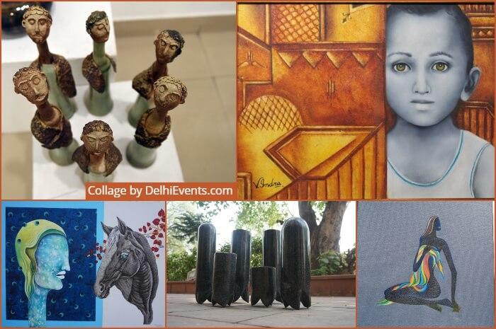 Prathma group show Stabdhika five women Artists Artworks