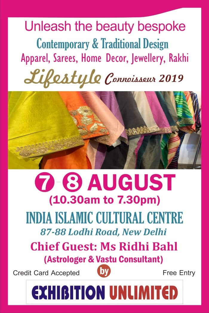 Exhibition Unlimited presents Lifestyle Connoisseur 2019 India Islamic Cutural Centre Creative