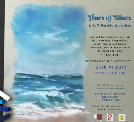 Hues Blues soft pastels workshop Stainless Art Gallery Creative