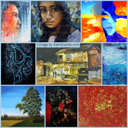 Abhiyakti group show paintings curated Amrita Prakash Exhibition Artworks