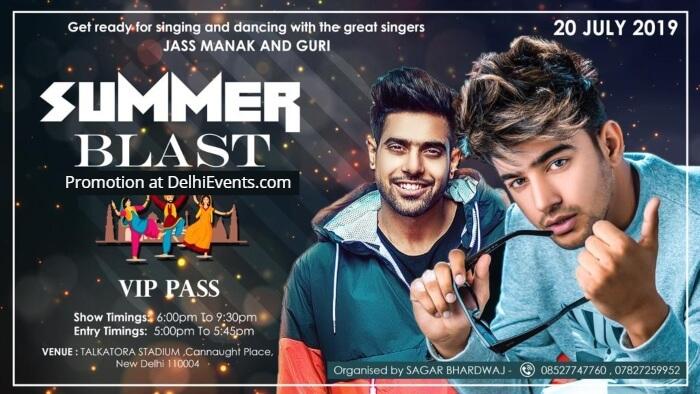 Summer Blast Punjabi singer Jass Manak Guri Talkatora Indoor Stadium Creative