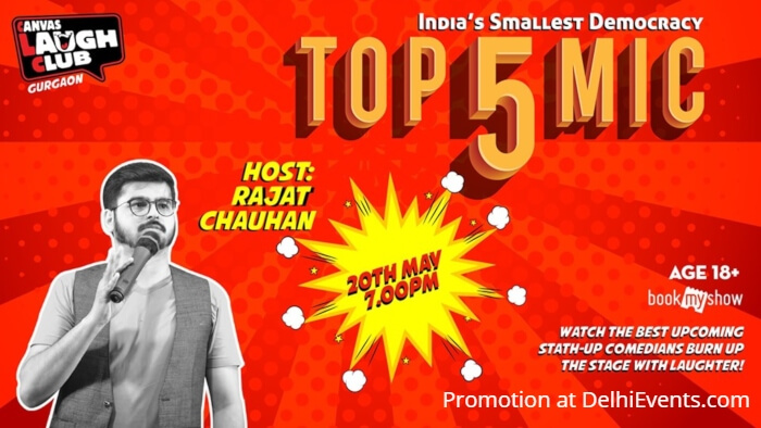 Top 5 Open Mic Hinglish Standup Comedy Host Rajat Chauhan Canvas Laugh Club Gurgaon Creative
