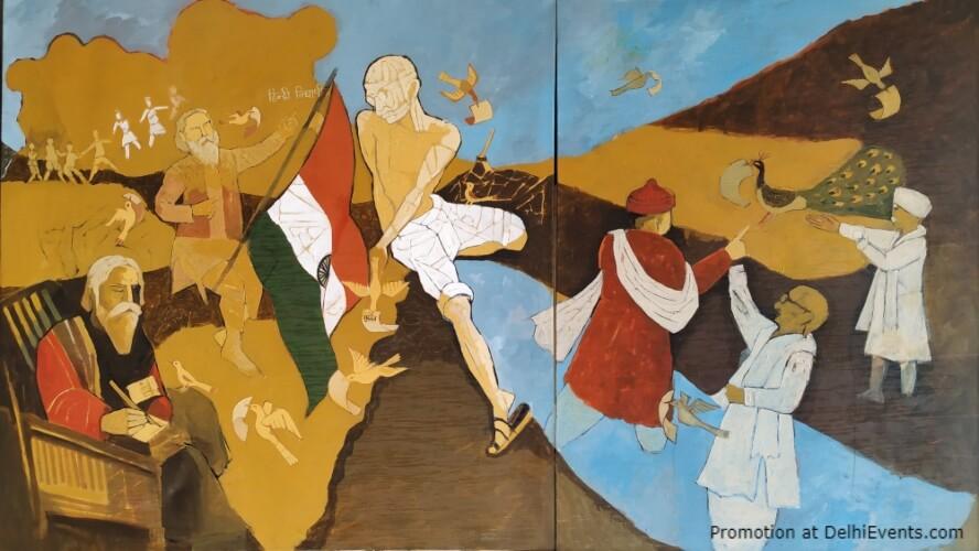 Mahatma Gandhi Ke Siddant Ek Anvarat Aandolan Solo Show Paintings Manjit Singh Rabindra Bhavan Mandi House Creative