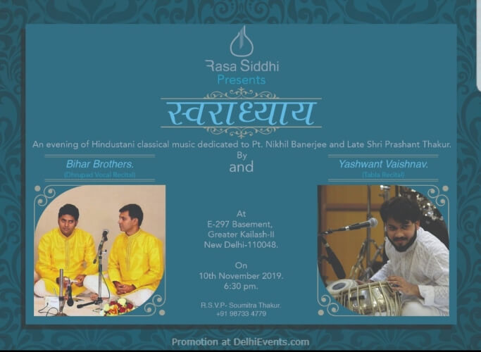 Swaradhyay Evening Hindustani Classical Music E297 Basement Greater Kailashll Creative