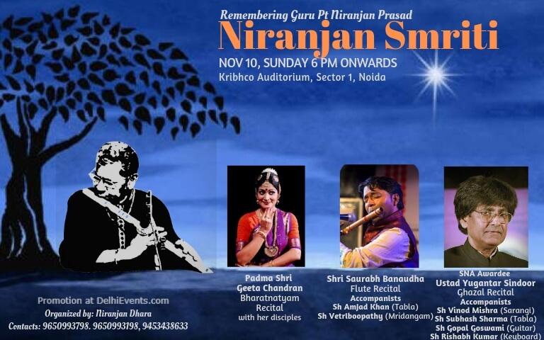 Niranjan Smriti 2019 Bharatanatyam Flute Ghazal Recitals KRIBHCO Bhawan Noida Creative