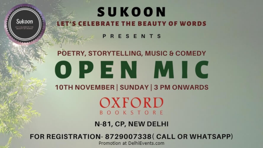 SukoonChapter10 Open Mic Oxford Bookstore CP Creative