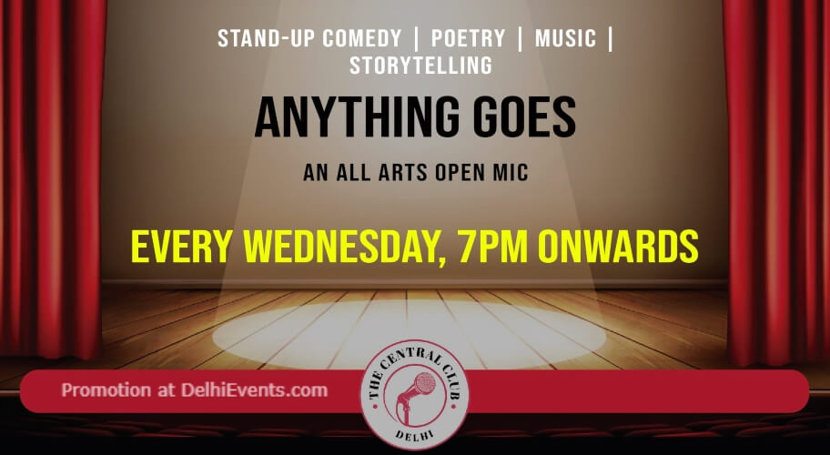 Anything Goes  All Star Open Mic Standup Comedy Akshara Theatre Baba Kharak Singh Marg Creative