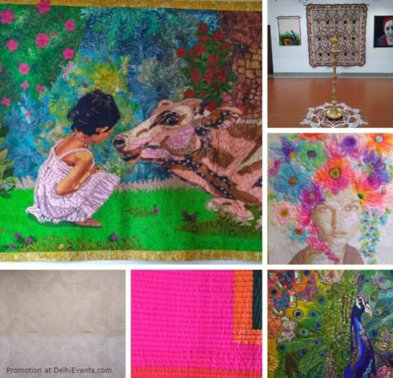 Quilt India Foundation Threads That Bind Travel Exhibit 18 Award Winning Quilts AIFACS Rafi Marg Stills