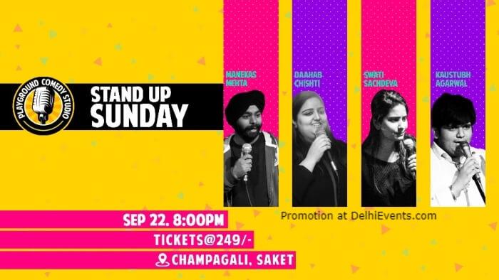 Standup Comedy Swati Sachdeva Daahab Chishti Kaustubh Agarwal Manekas Mehta Playground Comedy Studio Saket Creative