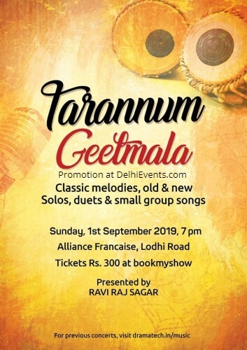 Tarannum Geetmala Classic melodies solos duets small group songs Alliance Francaise Creative
