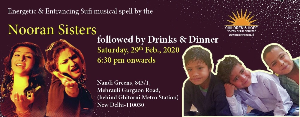 Children's Hope Energetic Entrancing Sufi Musical Spell Nooran Sisters followed Drinks Dinner Nandi Greens Gadaipur Creative