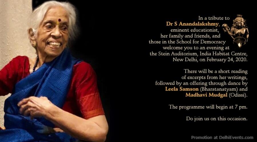 Readings Educationist Anandalakshmy Indian Classical Dance India Habitat Centre Creative