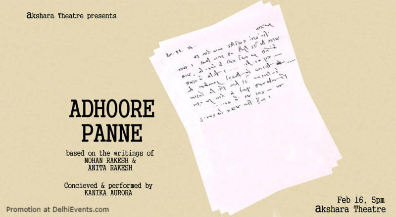 Adhoore Panne Play Akshara Theatre Baba Kharak Singh Marg Creative