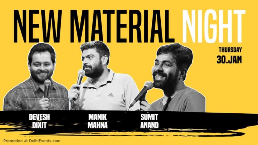 New Material Night Standup Comedy Devesh Manik Sumit Happy High Shahpur Jat Creative