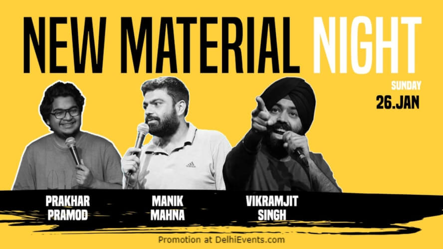 New Material Night Standup Comedy Manik Vikramjeet Prakhar Happy High Shahpur Jat Creative